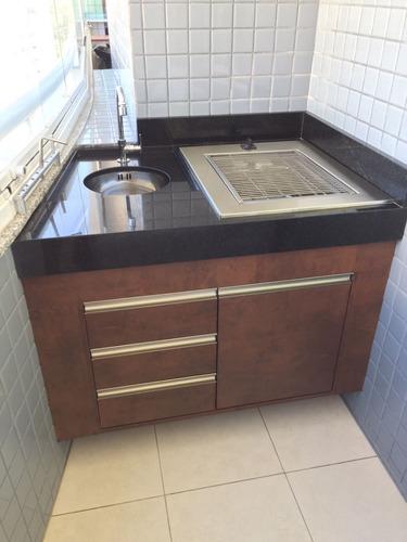 churrasqueira cooktop prática- embutir elétrica220v aço inox