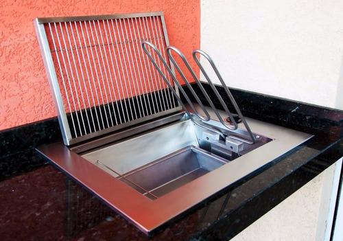 churrasqueira de embutir elétrica 220v aço inox - prática