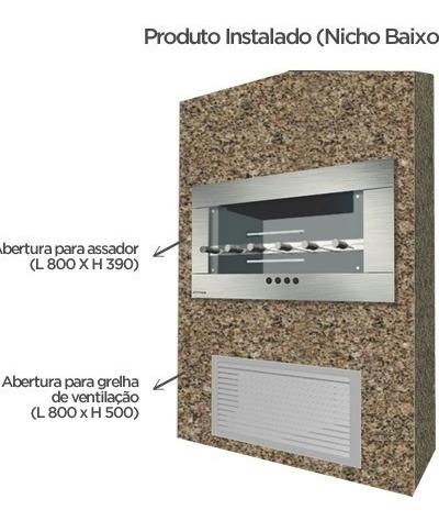 churrasqueira de embutir elétrica 6 espetos + kit ventilação