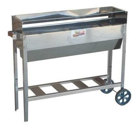 churrasqueira de espetinho inox dupla com carrinho roda