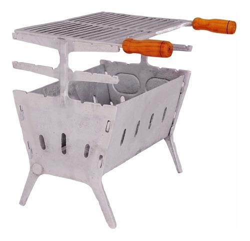 churrasqueira desmontavel aluminio batido economiza carvão