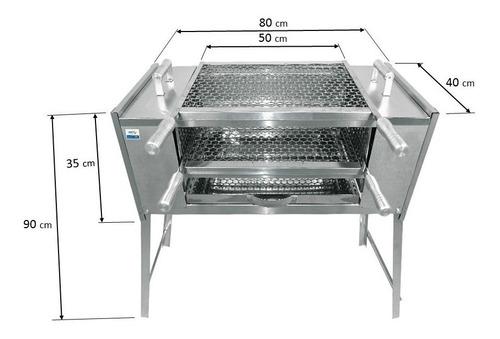 churrasqueira ecológica  80x40x90 tamanho g com 4 espetos