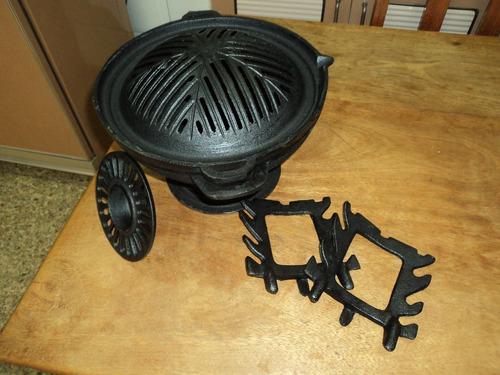 churrasqueira gengiskan ferro fundido simples (três peças)