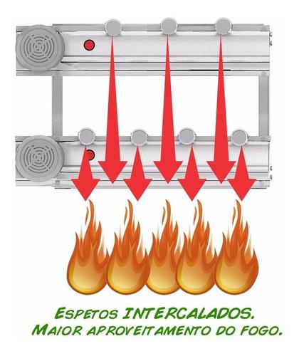 churrasqueira gira grill 100% inox 7 espetos + grelha