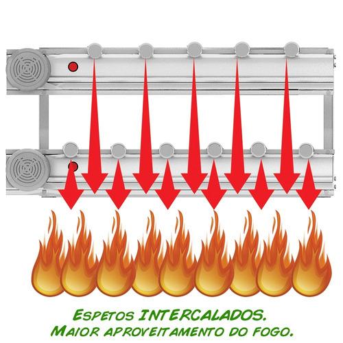 churrasqueira gira grill inox 11 espetos + grelha + brinde