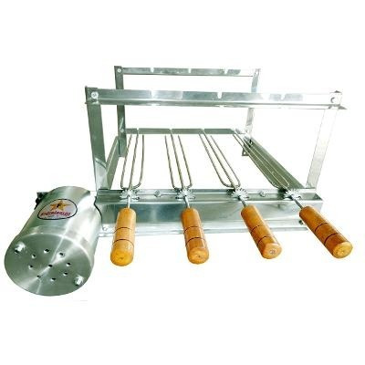 churrasqueira giratória grill gira 4 espetos inox