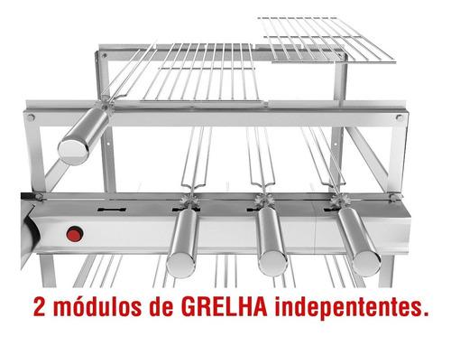 churrasqueira inox gira grill 11 espetos 3 andares 2 grelhas
