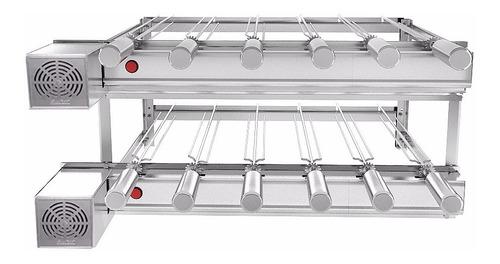 churrasqueira inox gira grill 12 espetos giratório 2 andares