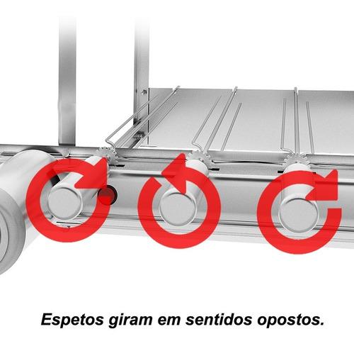 churrasqueira inox gira grill 5 espetos 3 níveis + 4 grelhas