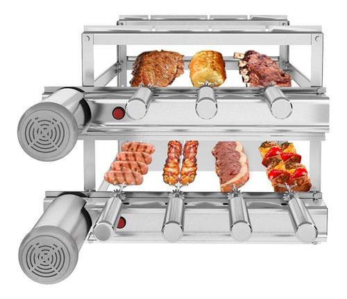 churrasqueira inox gira grill 7 espetos giratórios 3 andares