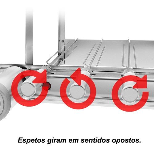 churrasqueira inox gira grill 7 espetos giratórios c grelha