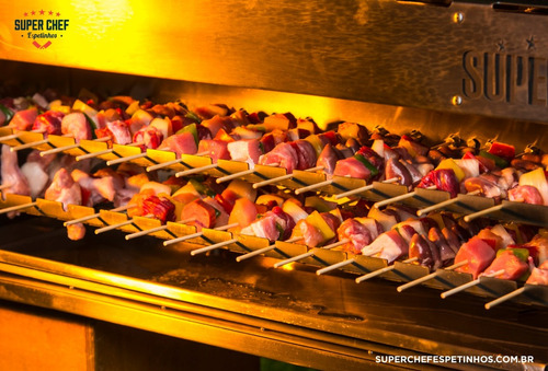 churrasqueira inox profissional p/48 espetinho girat. a gás