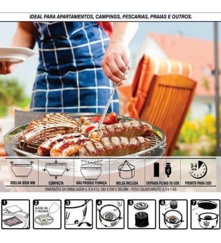churrasqueira portátil inox elétrica à carvão belle grillé