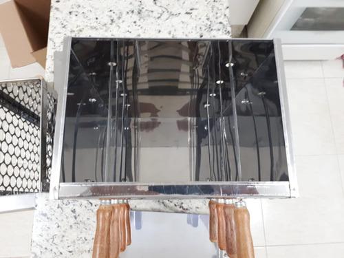 churrasqueira sem fumaça carvão inox portatil vertical apart