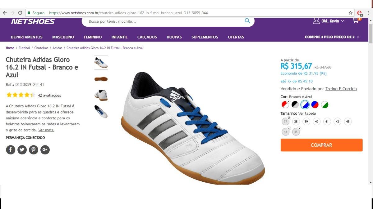 36fc478bbd Chuteira Original adidas Gloro 16.2 In Futsal Aq4145 Branca - R  200 ...