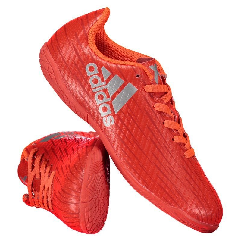 f0b9e1a078 chuteira adidas x 16.4 in futsal juvenil vermelha e laranja. Carregando  zoom.