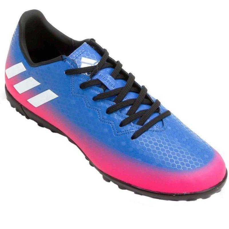 ... great fit chuteira futsal adidas messi 16.4 infantil - azul e pink. dce5218c5da43