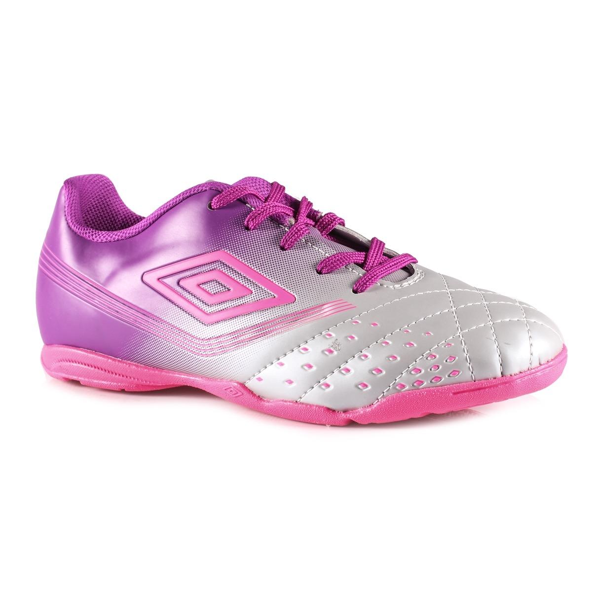 328739bfa6 chuteira futsal feminina umbro indoor fifty cinza roxo rosa. Carregando  zoom.