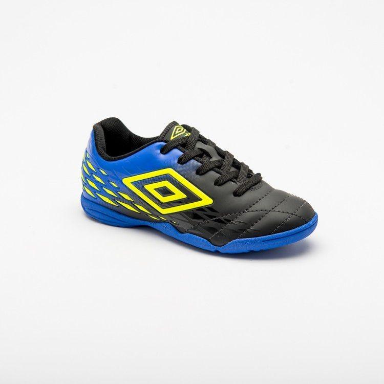 50e62ea2a5 Chuteira Futsal Umbro Fifty Ii Infantil - Preto azul limão - R  129 ...