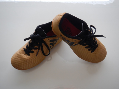 chuteira infantil adidas 29 salão futsal nike dourada