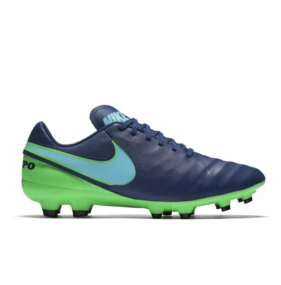 Chuteira Nike Campo Tiempo Genio Ii Leather Fg Azul vde - R  319 765732fbcdf3a