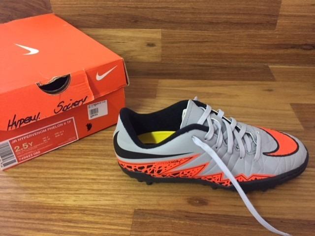 Chuteira Nike Jr Hypervenom Phelon Ii Tf Cinza - R  219 64b23f54249a4