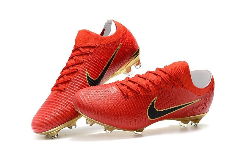 475958233d Chuteira Nike Mercurial Flyknit Ultra Red Gold +bolsa+meião - R  338 ...