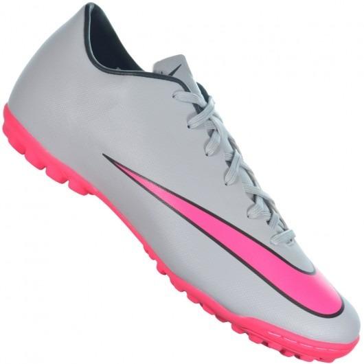 53e360b011016 Chuteira Nike Mercurial Victory V Tf Cinza/rosa - 651646-060 - R ...