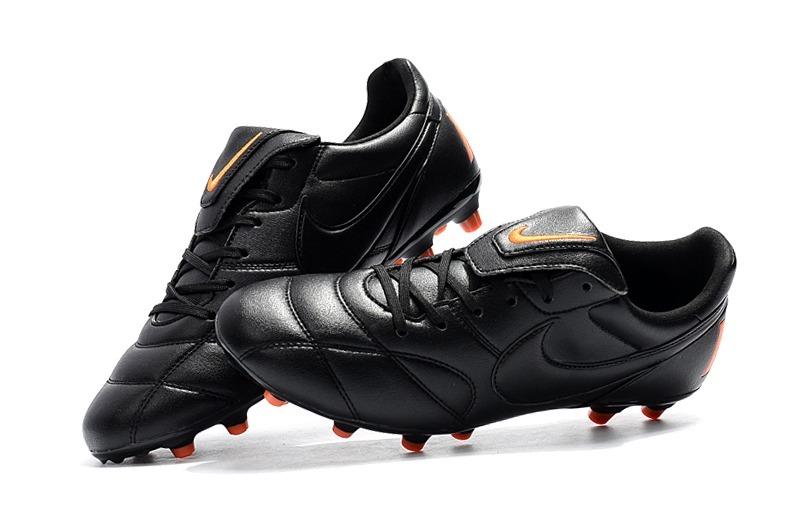 Chuteira Nike Premier 2.0 Profissional Couro Preta Laranja - R  327 ... 7204219014dd3