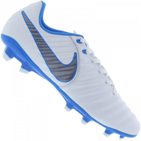 3d84674211 Nike Tiempo Branco  Azul - Chuteiras Nike no Mercado Livre Brasil