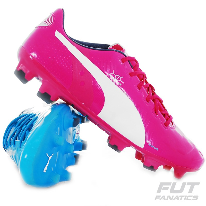 chuteira puma evospeed campo rosa e azul