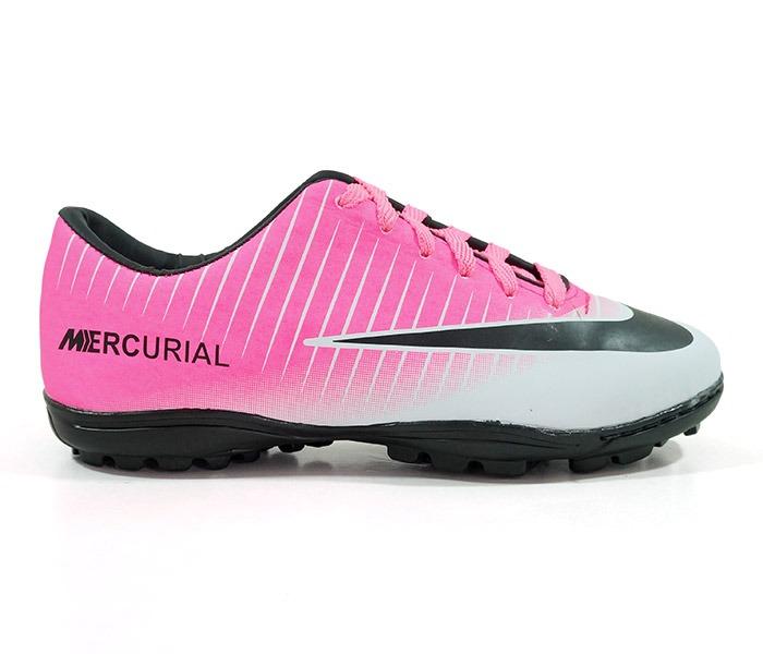 c893fe568439c Chuteira Society Nike Mercurial Vortex 3 Rosa E Branco - R$ 350,00 ...