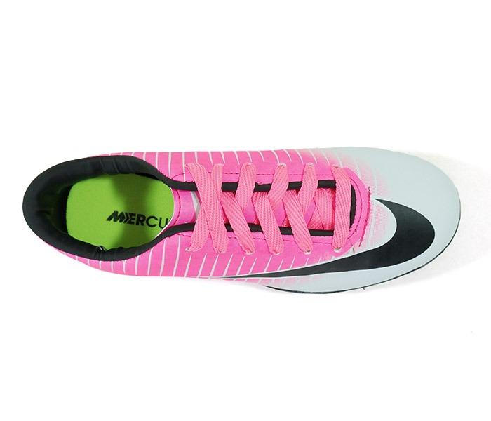 Chuteira Society Nike Mercurial Vortex 3 Rosa E Branco - R  350 fe14e7ac4f4b0