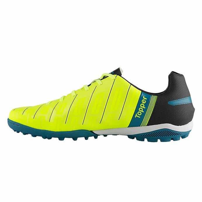 Chuteira Topper Champion 6 Society Preto neon azul - R  119 a2429f0563ec6
