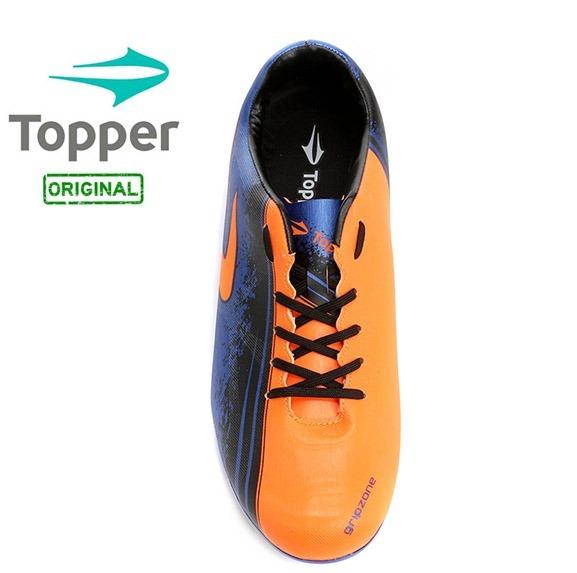 Chuteira Topper Trivela Campo Azul neon preto Preço De Custo - R  69 ... 04625b00d13c0