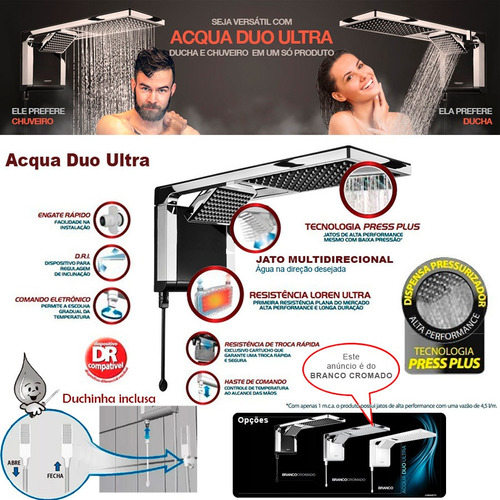 chuveiro acqua duo ultra branco cromado lorenzetti ft gratis