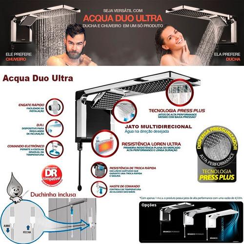 chuveiro acqua duo ultra preto crom + kit pratico lorenzetti