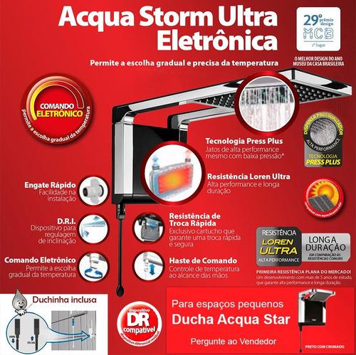 chuveiro acqua storm ultra preto com cromado lorenzetti