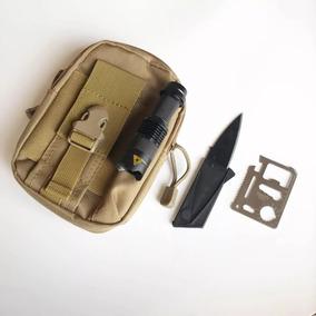 3190a5d941 Kit Mochila Bolsa Tactica Militar + Lampara Zoom + Navajas