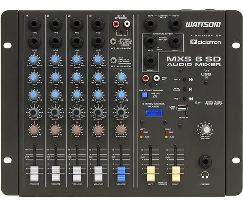 ciclotron mesa de som analógica mxs6-sd audio mixer