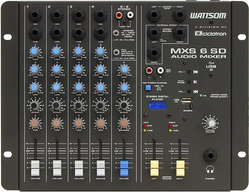 ciclotron mxs 6 sd mesa de som 6 canais e usb - frete grátis