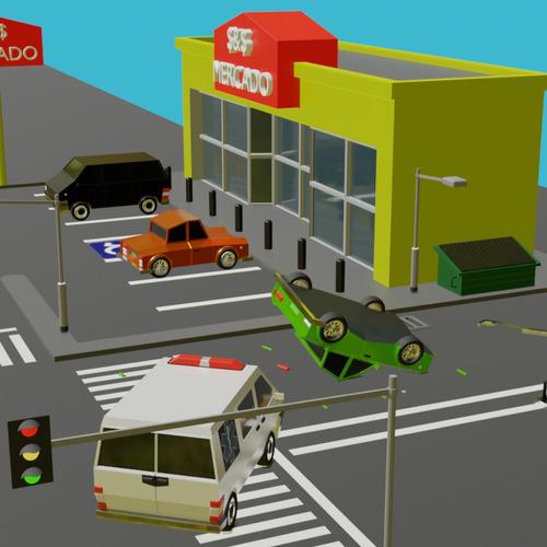 cidade low poly 2d mas 9 carros bônus