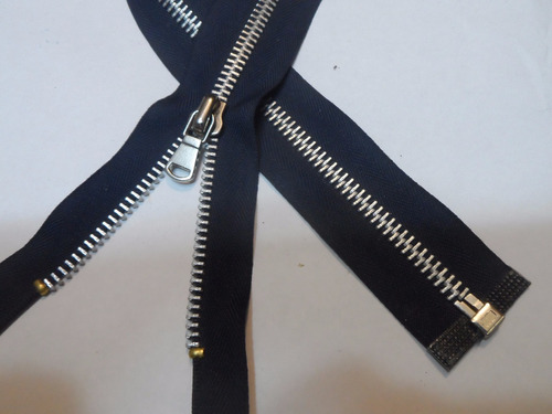 cierre 60 cms separable o chaquetero metal 6 mm aluminio