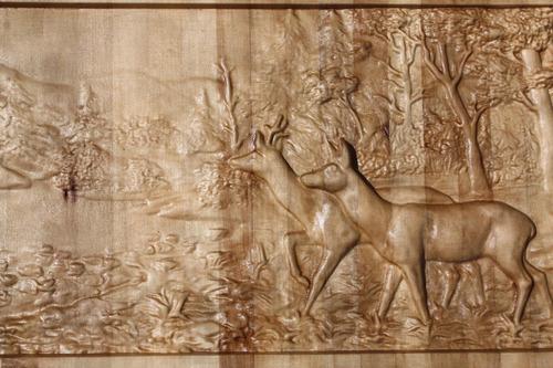 ciervos madera tallada