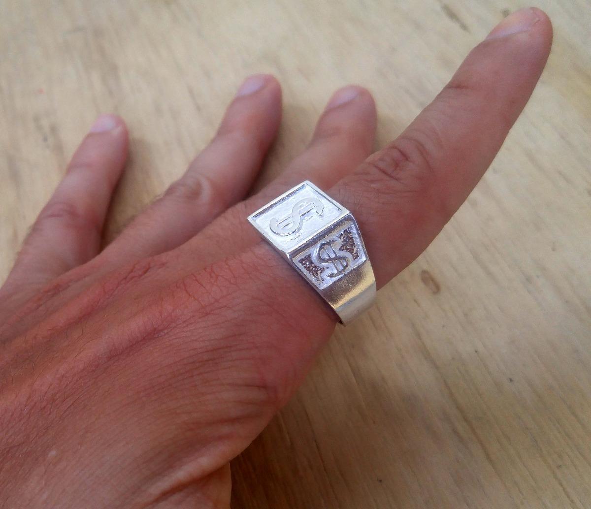 6cfd31a23a cifrão anel dedeira de prata + brinco modelo cifrão. Carregando zoom.