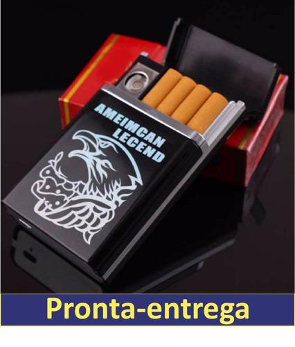 cigarreira cigarro isqueiro elétrico usb recarregável kit