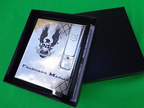cigarrera con encend electrónico usb personalizada con lasér
