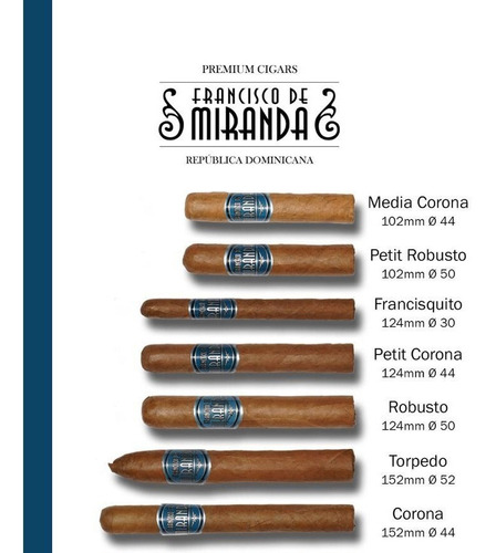 cigarro francisco miranda petit robustos dominicana caja x25