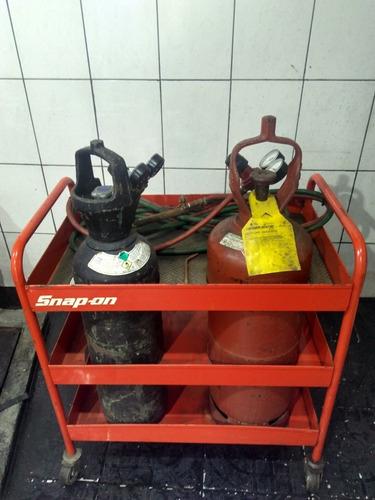 cilindro acetileno e oxigenio completo para solda com carga