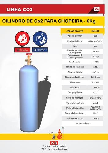 cilindro co2 chopeiras cervejeiras carbonatação 6kg cheio co